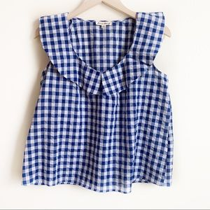 Jane and Delancey Top Gingham Checked Blue Size S